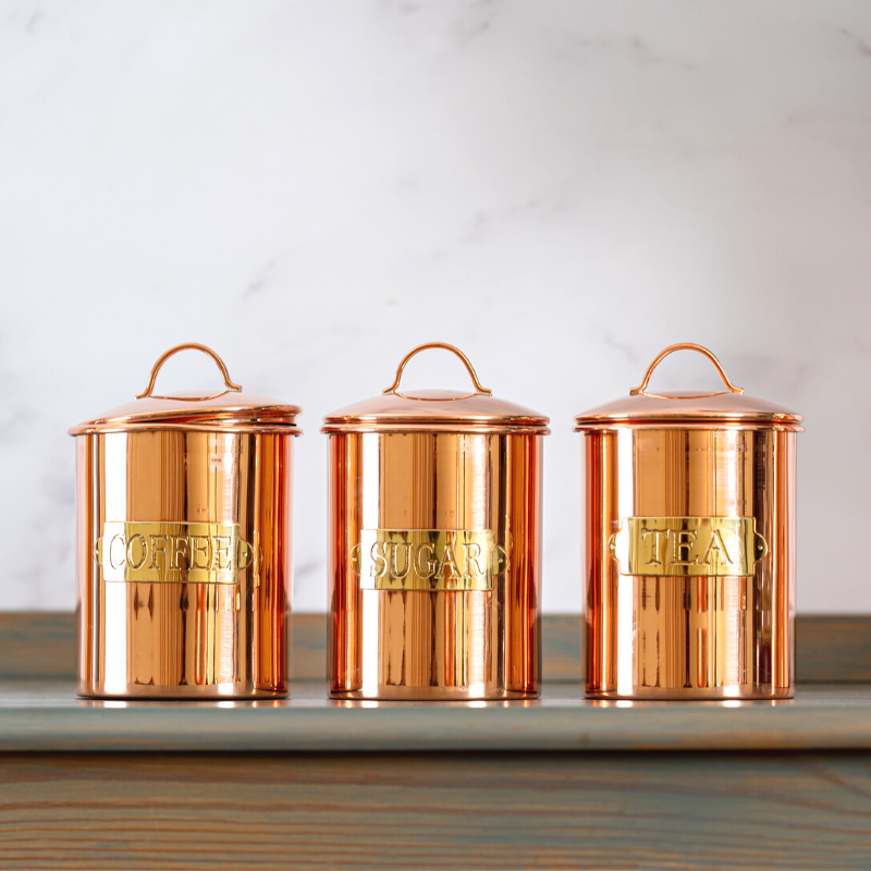 Tea, Coffee, Sugar Canisters - Copper 1