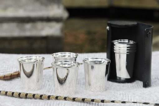 Silver Beaker Set in Leather Cases 1