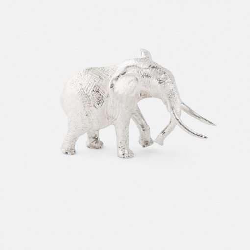 Silver Elephant Bull Figurine - Small