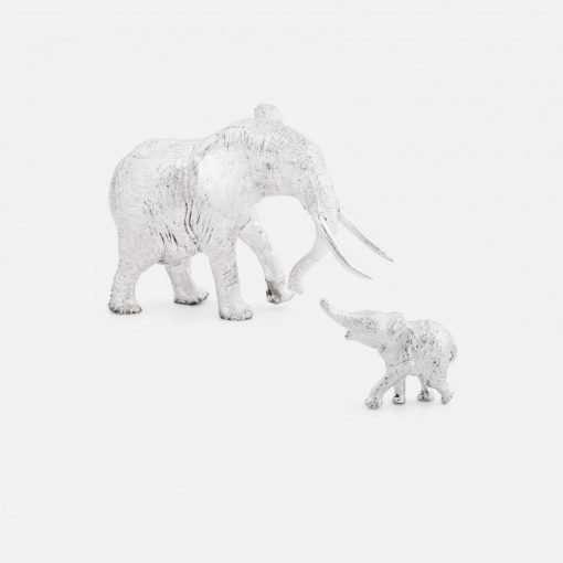 Silver Elephant Cow & Calf Figurines - Small 1