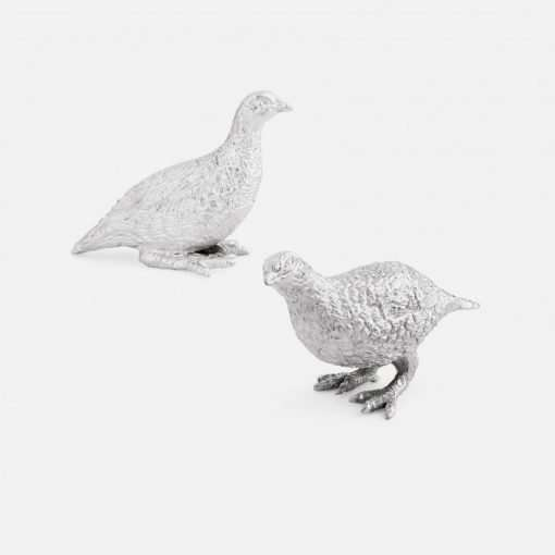 Silver Grouse Cock & Hen Figurines - Small 1