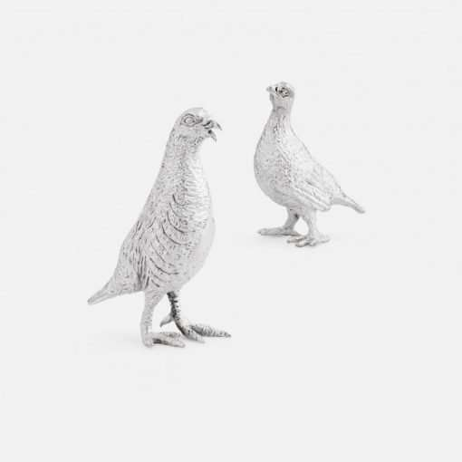 Silver Partridge Cock & Hen Figurines - Small 1