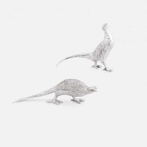 Silver Pheasant Cock & Hen Figurines - Small 1