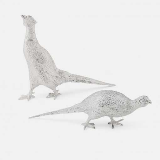 Silver Pheasant Figurines - Large