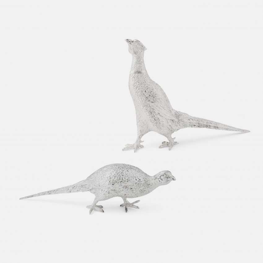 Silver Pheasant Figurines - Medium