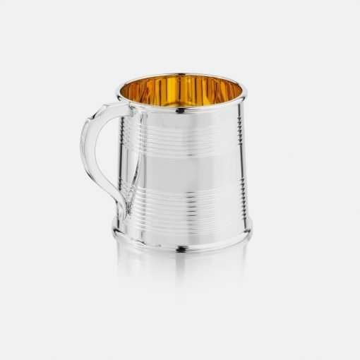 Silver Reeded Mug with Gold Plate 1