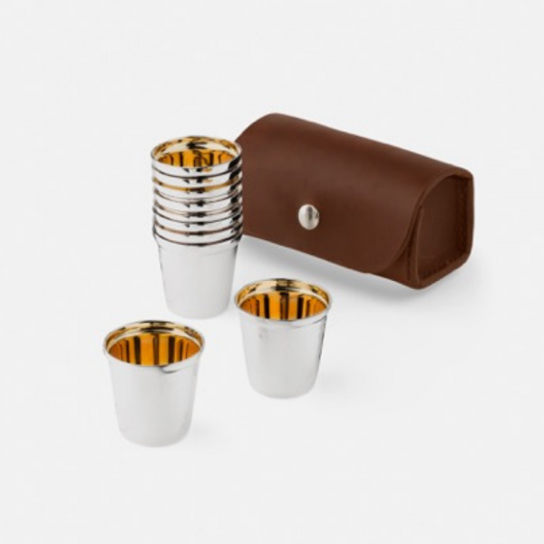 Silver Beaker Set in Leather Cases 4
