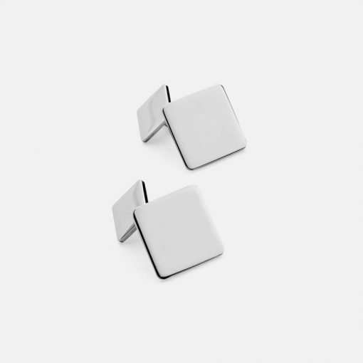 Silver Square Cufflinks - Chain Link 1