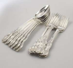 Six Pairs of Queen's Pattern Serving Spoons & Forks