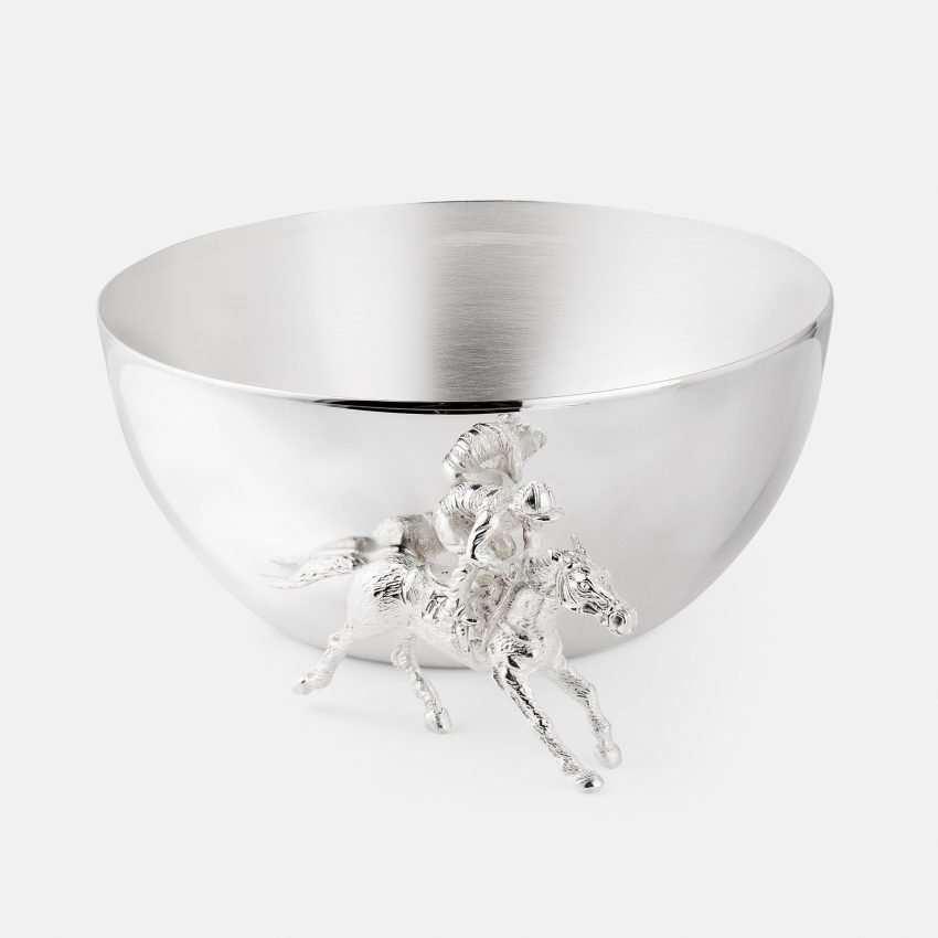 large silver bowl with jockey