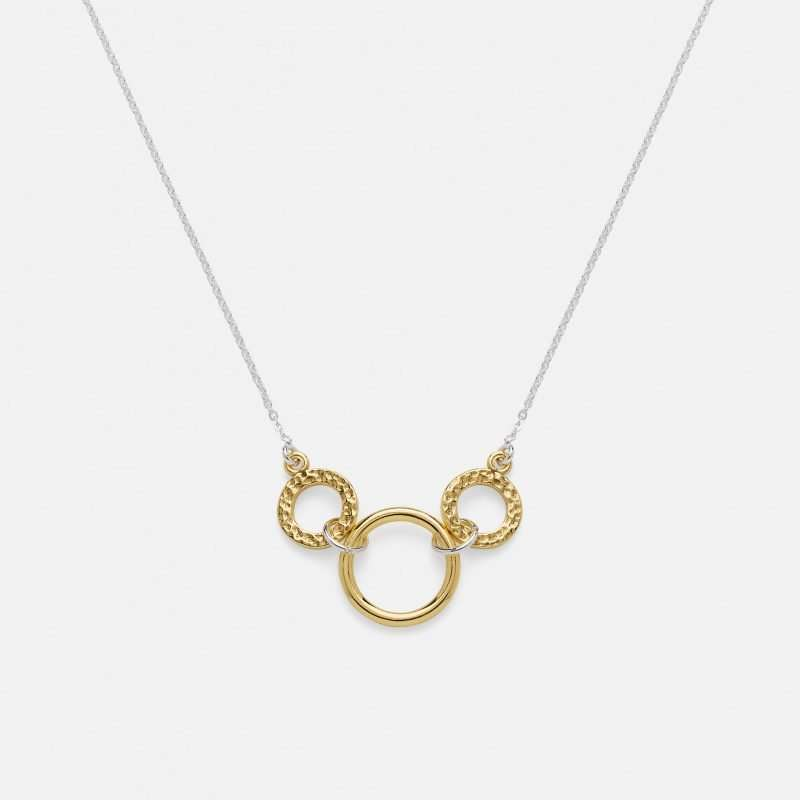 Triple Link Necklace in Silver and Gold