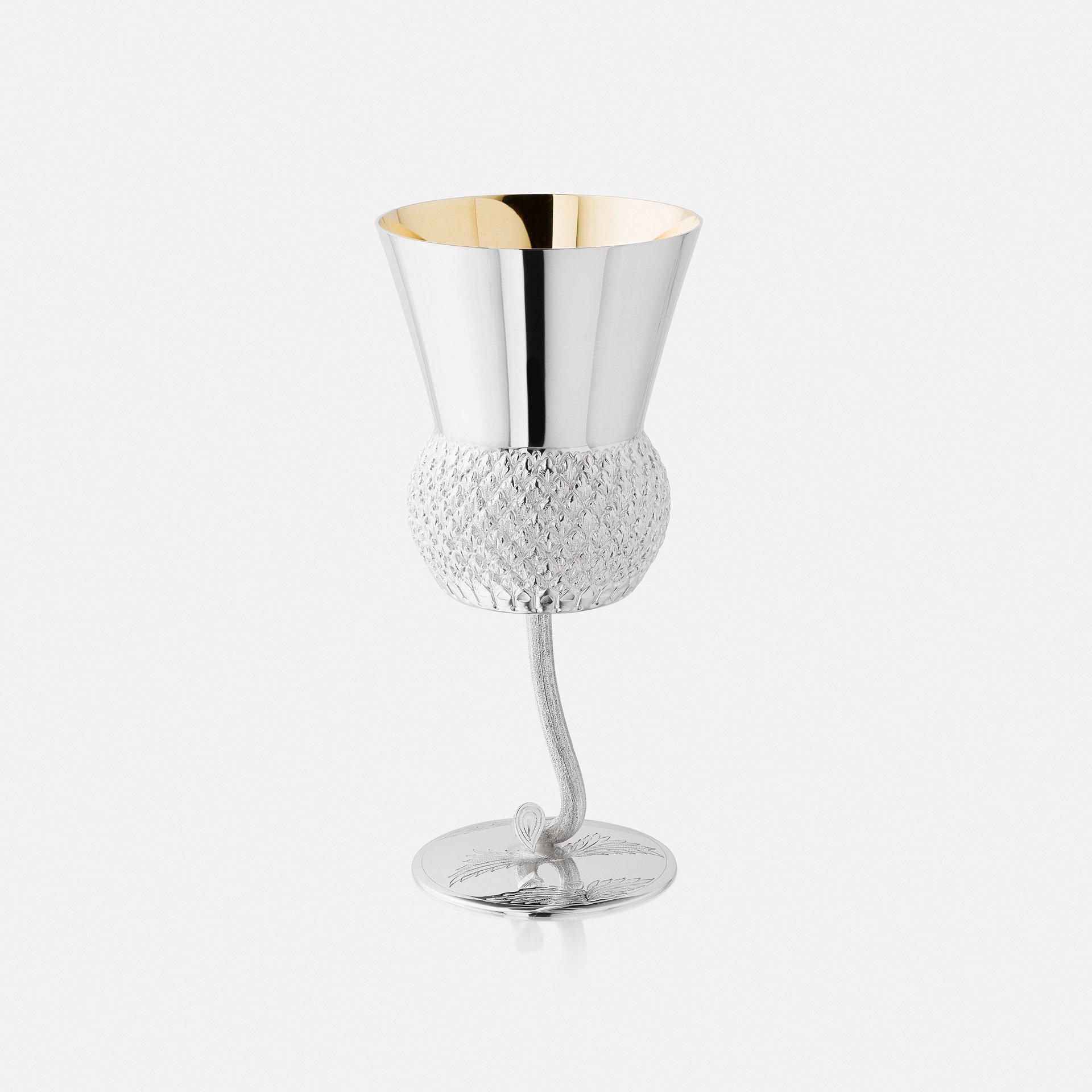Silver White Wine Thistle Goblet 1