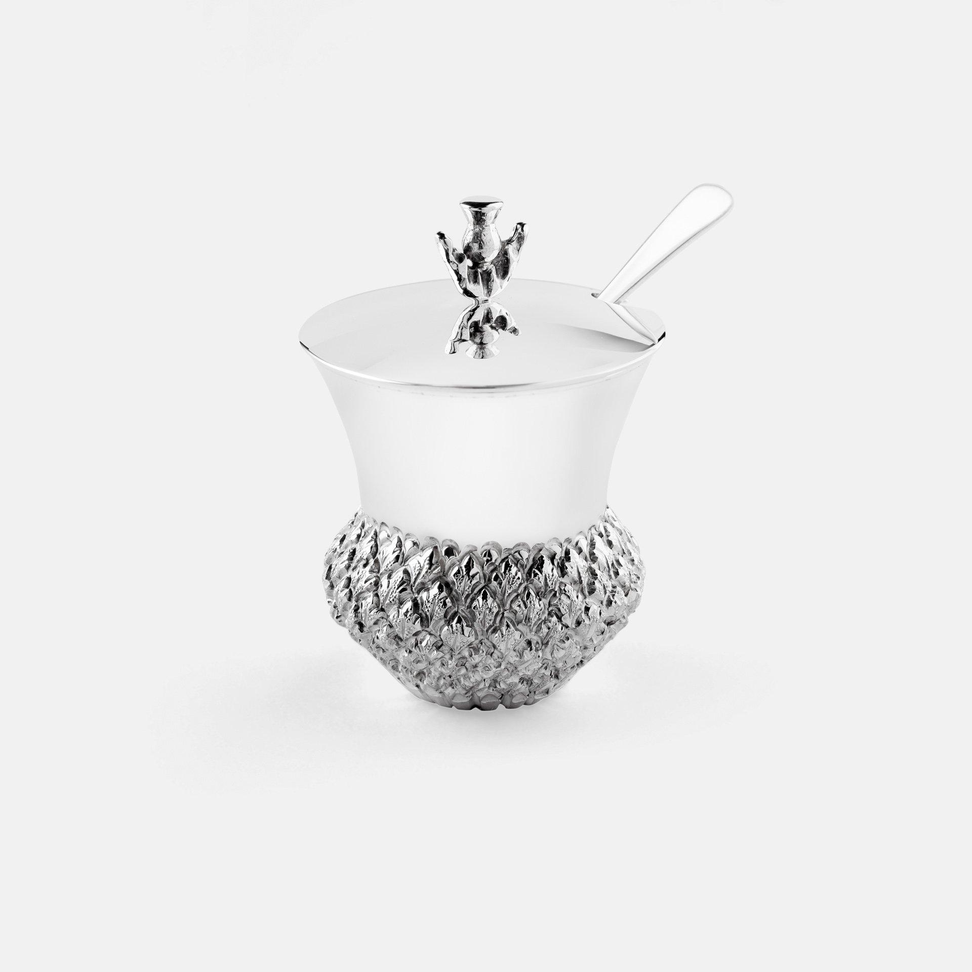 Silver Thistle Mustard Pot 1